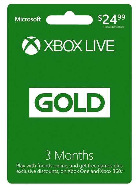 3 Month Xbox Live Gold Membership $15 + Second 3 Months