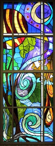 Canticle of Creation stained glass window, by SM Ann