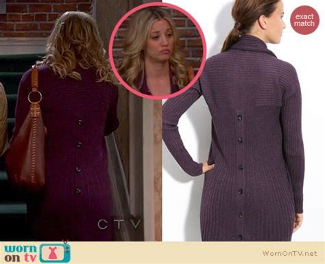 WornOnTV: Penny's purple ribbed cardigan with buttons down