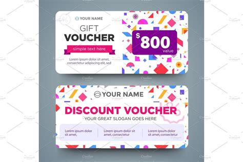 discount voucher template with colorful pattern ~ Arts