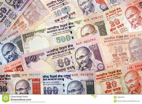 Modern Indian Rupees Paper Currency Arrangement Stock