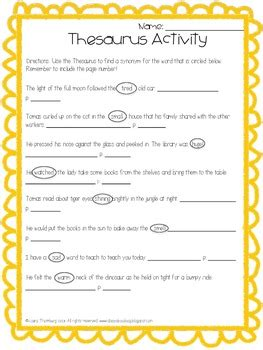 Thesaurus Activity Based on Tomas and the Library Lady by