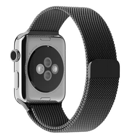 Black Milanese Magnetic Stainless Steel Band - Apple Watch