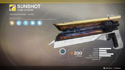 How to Get Sunshot Exotic Weapon Hand Canon In Destiny 2