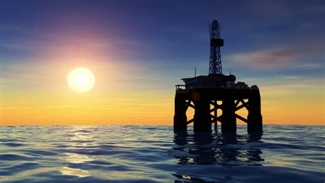 Offshore Oil Rig Drilling Platform Stock Footage Video