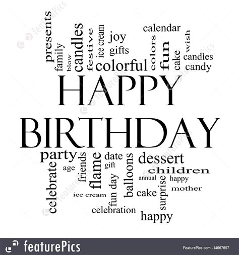 Illustration Of Happy Birthday Word Cloud Concept In Black