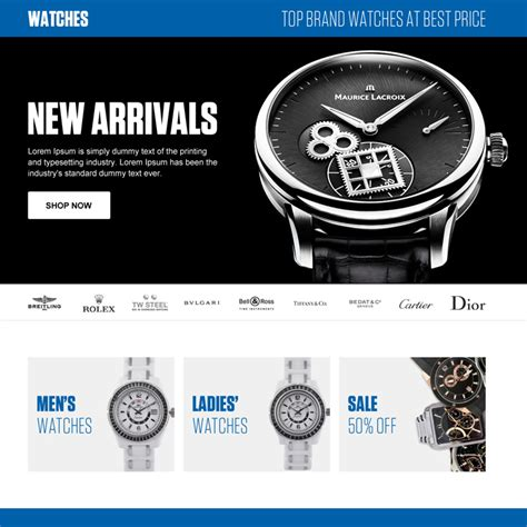 online watch store ecommerce responsive landing page
