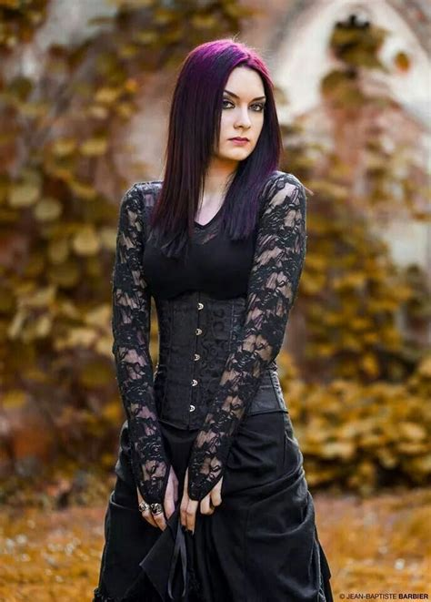 Goth girl with beautiful lace sleeves and purple ombré